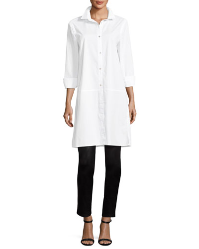 Long-Sleeve Stretch-Cotton Lawn Shirtdress and Matching Items