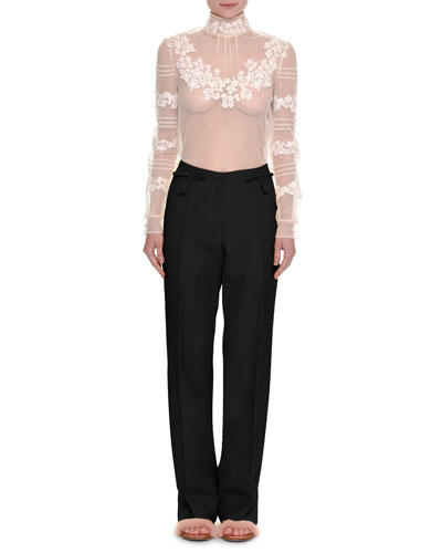 Floral-Embroidered Sheer Turtleneck Top and Matching Items