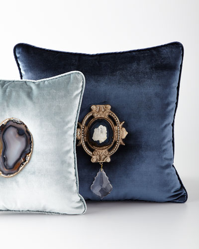Mist Agate Geode Velvet Pillow and Matching Items
