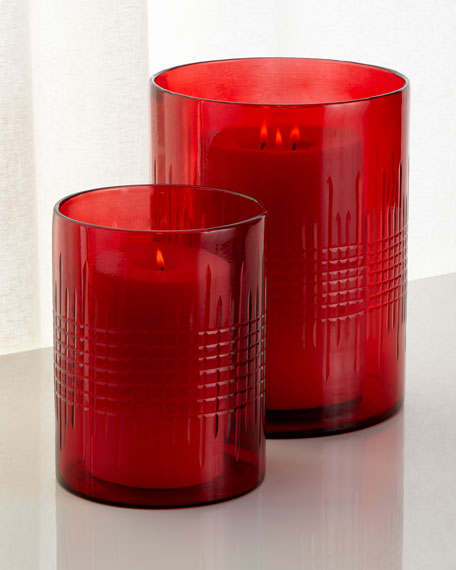 Large Cut Glass Hurricane, Red