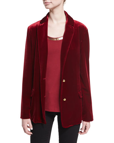 Stretch-Velvet Two-Button Blazer, Petite  and Matching Items