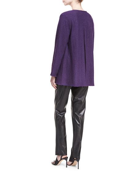 Bi-Stretch Faux-Leather Pants, Black, Petite