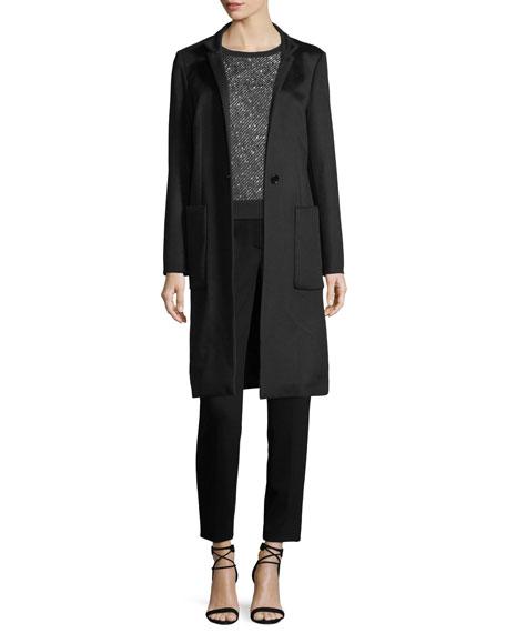 Tweed-Print Jacquard Knit Top