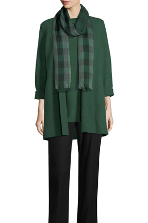Eileen Fisher Petite High-Collar Open-Front Boiled Wool Coat Petite Slim Ponte Pants