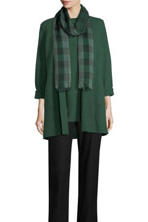 Eileen Fisher Petite High-Collar Open-Front Boiled Wool Coat Petite Slim Ponte Pants