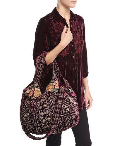 Roberta Velvet Smocked Blouse & Flores Embroidered Velvet Tote