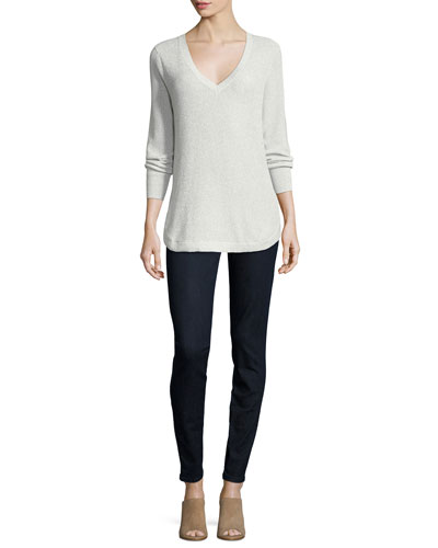 V-Neck Lurex Sweater, Plus Size and Matching Items