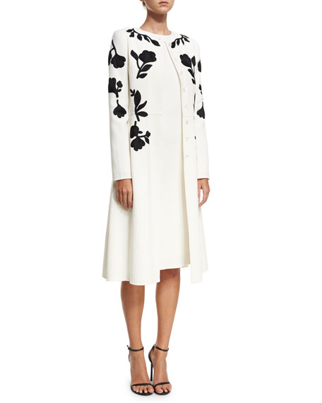 Floral-Embroidered Crepe Coat