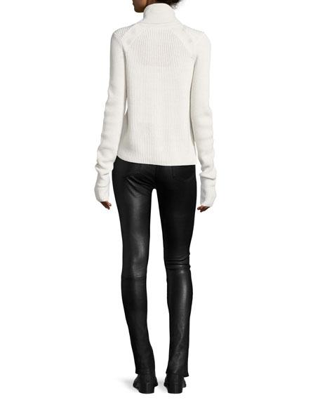 Veronica Beard Pearson Turtleneck Ribbed Wool Sweater w/ Button Trim
