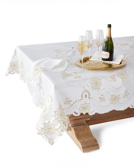 "SFERRA Armina 90"" Round Tablecloth & 12 Napkins"