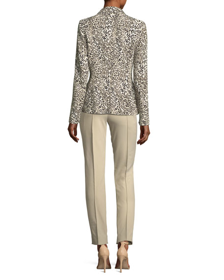 Leopard-Print One-Button Blazer