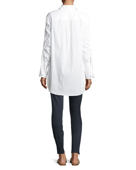 Solid Long-Sleeve Shirting Tunic