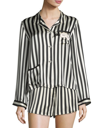 Ruthie Long-Sleeve Striped Silk Pajama Top and Matching Items