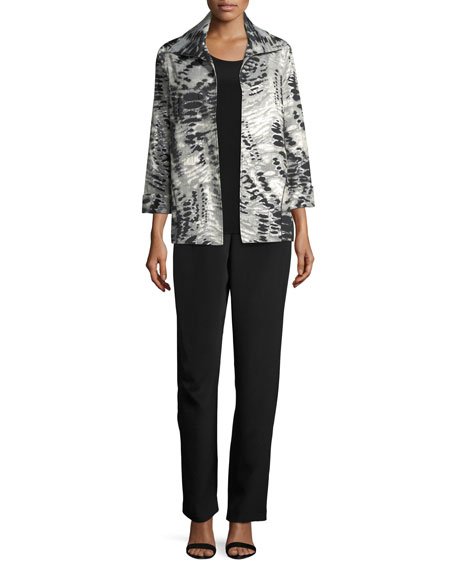Abstract Animal-Print Jacket, Petite
