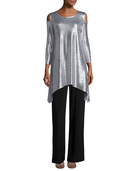 Reflection-Knit Cold-Shoulder Tunic, Petite