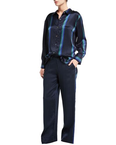 Midnight Stripe Silk-Satin Pajama Pants and Matching Items