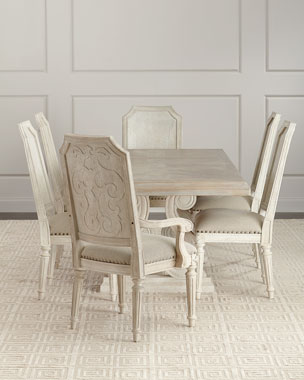 Magdalen Pedestal Dining Table Pair Of Arm Chairs