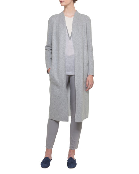 Open-Front Reversible Silk Jersey Long Coat