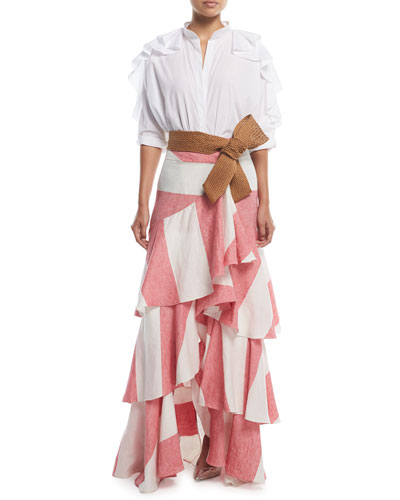 Long Western Stripe Tiered Linen Skirt and Matching Items