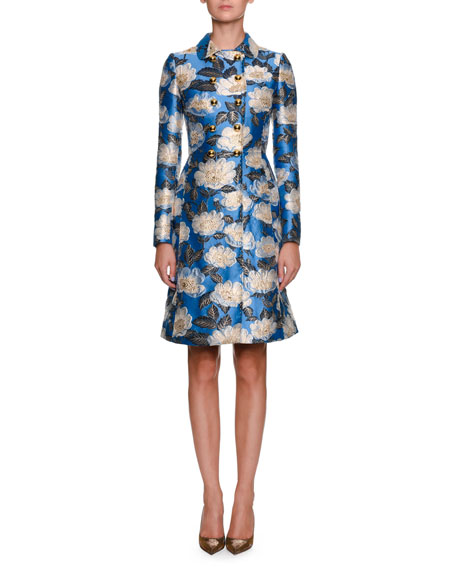 Double-Breasted Printed Jacquard Top Coat