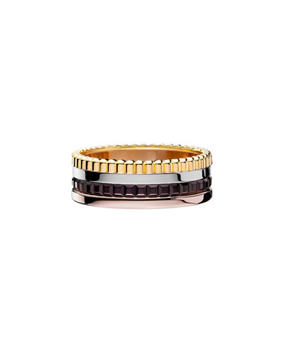 Classic Quatre 18k Four-Color Gold Small Band Ring, Size 5.5
