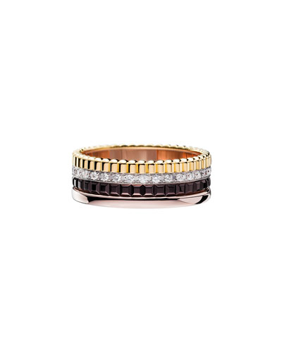 Classic Quatre 18k Four-Color Gold Small Diamond Band Ring, Size 5.5