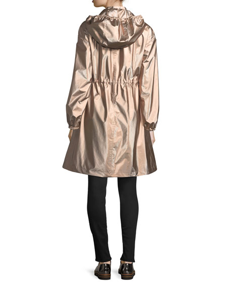 Snap-Front Hooded Anorak Coat