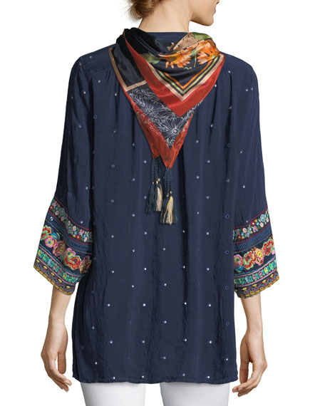 Patchwork-Sleeve Georgette Tunic, Petite