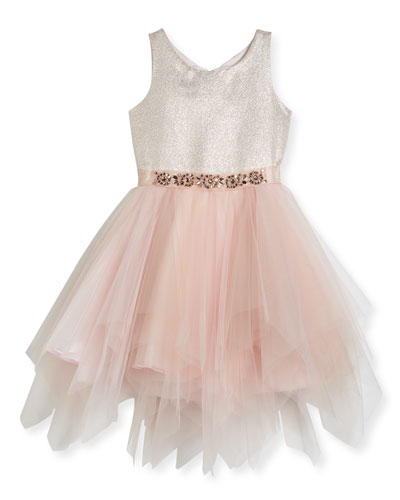 Metallic Tulle-Skirt Dress, Size 2-6X and Matching Items