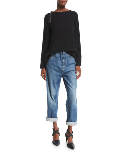 Relaxed-Fit Drawstring Jeans with Metallic Stripes, Blue and Matching Items