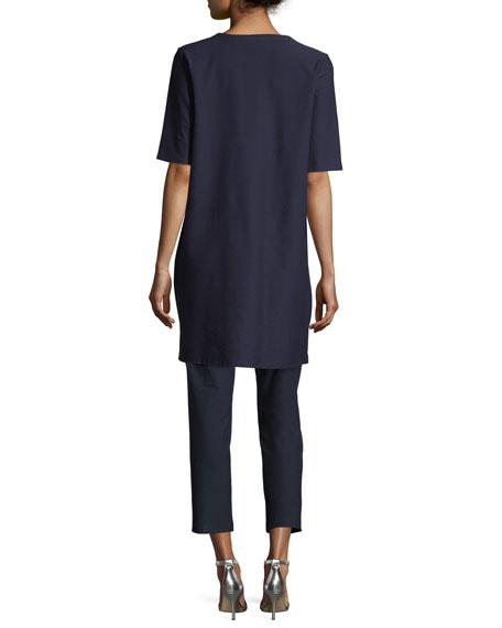 Petite Half-Sleeve Crepe Shift Dress