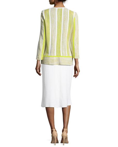 Open-Front Melange Mix Jacket, Plus Size