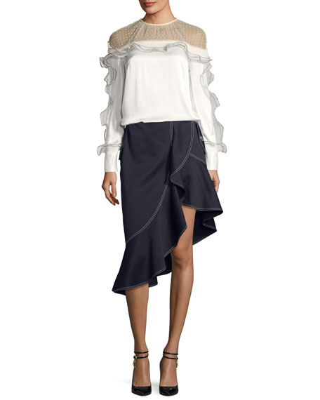 Satin Yoke Long-Sleeve Top with Organza Frills