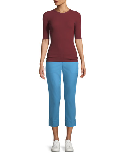 New Stretch-Wool Crop Cuff Straight-Leg Pants and Matching Items