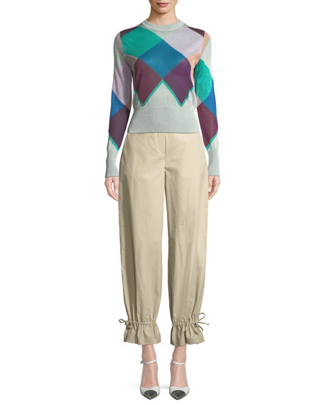 Multicolor Long-Sleeve Harlequin Knit Jacket