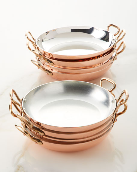 Duparquet Copper Cookware Solid Copper Au Gratin Pans with Tin Lining, Set of 4