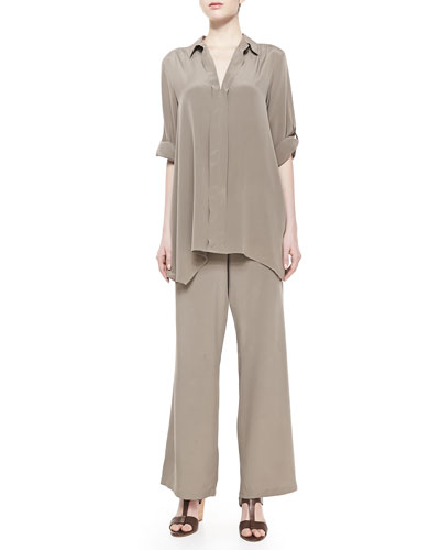 Dolman-Sleeve Silk Tunic & Silk Wide-Leg Pants