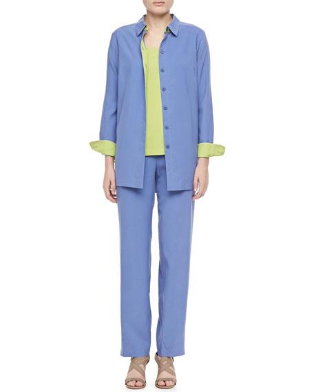 Colorblocked Silk Shirt, Plus Size