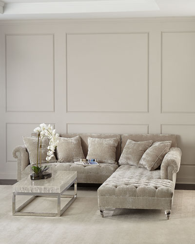 Divine Crushed Velvet Left-Chaise Sectional  and Matching Items