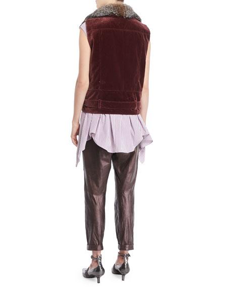 Cap-Sleeve Button-Down Striped Cotton Poplin Blouse with Wrap Belt