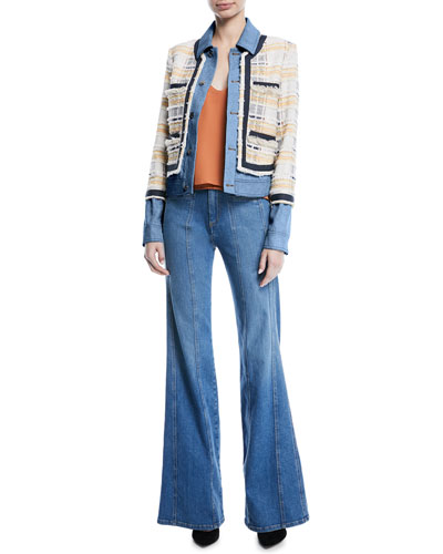 Santiago Button-Front Combo Tweed & Denim Jacket and Matching Items