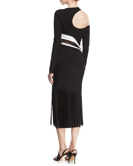 Cold-Shoulder Striped Sheer-Middle Knit Top
