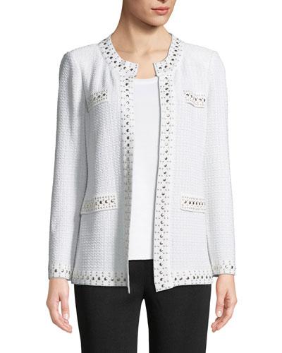 Stud-Trim Knit Jacket, Petite and Matching Items