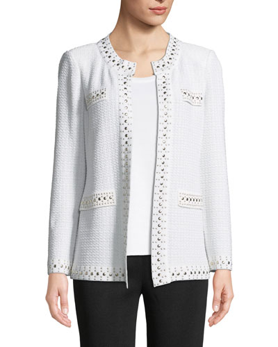 Stud-Trim Knit Jacket, Plus Size and Matching Items