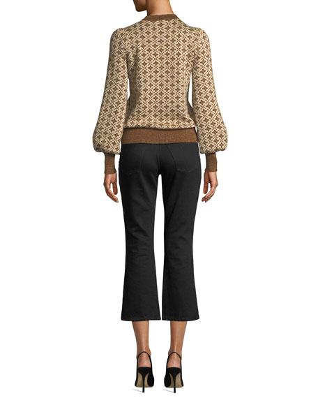 Crewneck Blouson-Sleeve Jacquard Knit Pullover Sweater