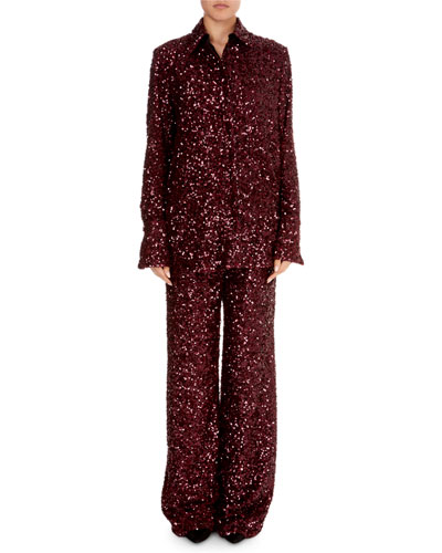 Button-Front Long-Sleeve Sequin Shirt and Matching Items