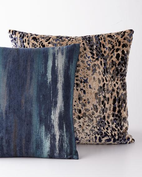 D.V. Kap Home Sarabi Blue Cut Velvet Pillow