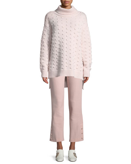Dotted Turtleneck Wool-Cashmere Pullover Sweater