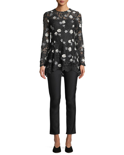Long-Sleeve Fit-and-Flare Floral-Appliques Lace Top and Matching Items