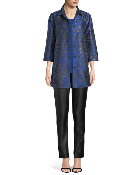 3/4-Sleeve Button-Front Shimmering Animal-Jacquard Boyfriend Shirt